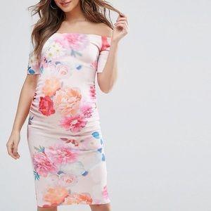ASOS Maternity Off shoulder floral print Middi 6